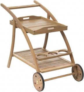 Servierwagen auf Rollen für Garten TIWI, mit abnehmbarem Tablett, Akazienholz