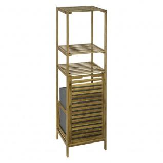 Bambusfaser Badregal mit Wäschekorb Bücherregal mit Regalen Bambusregal Scharnier Wäschekorb