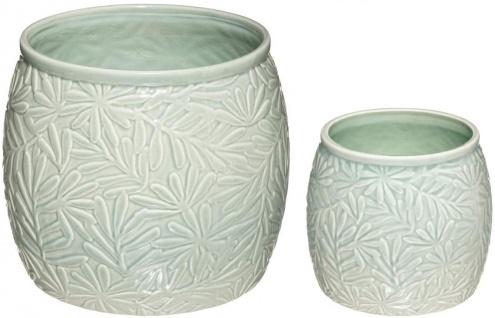 Blumentöpfe aus Keramik, 2 Stück, Pflanzen-Motiv, hellgrün
