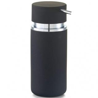 Zeller Seifenspender Rubber, Keramik, schwarz, ca. 6, 6 x 6, 6 x 16 cm