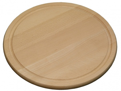 Fleischteller, Schneidebrett, Küchenbrett, Servierbrett, FSC-Buche, 25 cm rund