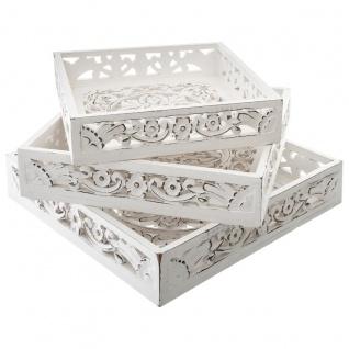 Tablett aus Holz, quadratisch, Weiß, Antik-Optik, 3 Stück - Atmosphera