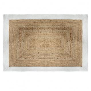 Teppich aus Jute, rechteckig, 120 x 170 cm, mit weißem Rahmen