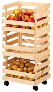 Gemüseregal aus Holz mit massiven Rädern perfekt für Speisekammer oder Keller - Kesper