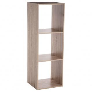 Dekoregal Bücherregal Deko 3 Ebenen grau Höhe 100 cm