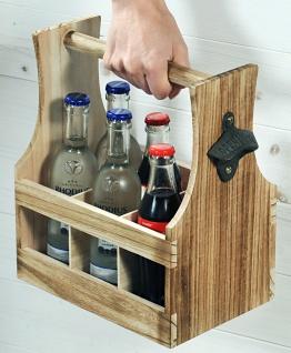 Flaschenträger für 6 Flaschen, Flaschenkorb, Paulowniaholz B:25 x H:29 x T:17cm - Vorschau 2
