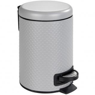 Müllkorb mit Fuß und Deckel, Metallbehälter PUNTO mit herausnehmbarem Eimer - 3 l, WENKO