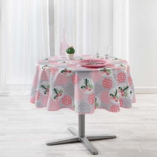 Runde Tischdecke AHORA, Ø 180 cm, grau mit geometrischem Muster
