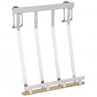 Wenko Tablethalter Premium-Ständer Halter für Tablets, E-Reader, Smartphones und Kochbücher, Metall vernickelt, 19 x 23 x 7, 5 cm, silber matt