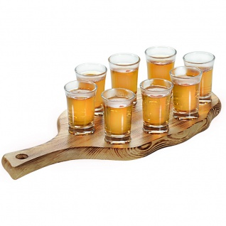 Tablett + 8 Gläser für Wodka, Tinkturen, aus Kiefernholz, Kesper