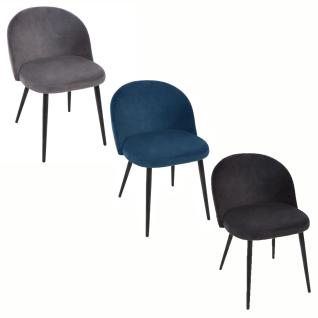 NELA Stuhl mit profilierter Rückenlehne und Metallbeinen, einzigartiges Möbelstück mit weichem Material bezogen