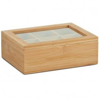 Teebeutelbox, Bambusschatulle für Tee in Säcken - 6 Fächer, ZELLER