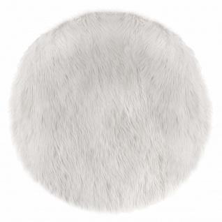 Teppich, Fell, rund, Weiß, Durchmesser 90 cm