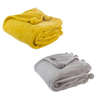 Atmosphera Créateur d'intérieur, Decke mit Pompons 150 x 125 cm - gelb