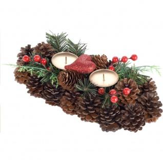 Weihnachtstisch Kopfschmuck für 2 Teelicht 32 x 17 cm - Home Styling Collection