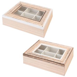 Tee-Behälter aus Holz mit 6 Fächern, Teebox, Teekiste, Teedose - weiß