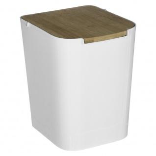 Weißer Mülleimer aus Bambus, Abfalleimer, Abfallbehälter, Müllbehälter 5l