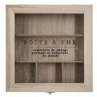 Box aus Holz und Glas in beige Farbe, perfekt für Aufbewahrung von Tee