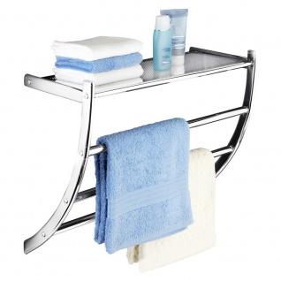 Handtuchhalter PASCARA + Badablage, 2 in 1, Chromstahl, WENKO