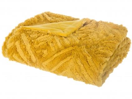 Felldecke, Warme Decke, Tagesdecke auf der Couch, Wolldecke, Plaid - gelb - Vorschau 4