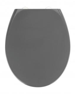 WENKO Premium WC-Sitz Samos Slate, Toiletten-Sitz mit Absenkautomatik, rostfreie Fix-Clip Hygiene Edelstahlbefestigung, 37, 5 x 44, 5 cm, dunkelblau - WENKO