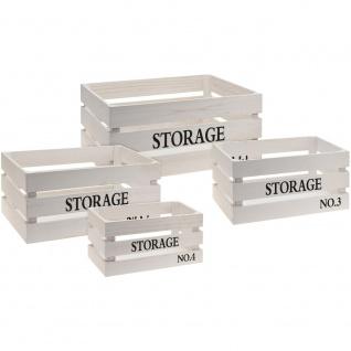 Aufbewahrungsbox, Kisten aus Holz - 4 Stück im Set, Farbe:weiß