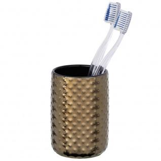 Keramikbehälter für Zahnbürste und Zahnpasta, KEO Badbecher mit dekorativer Textur - WENKO