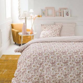 Bettwäsche aus Baumwolle, beidseitig, 220 x 240 cm, rosa mit Blumen