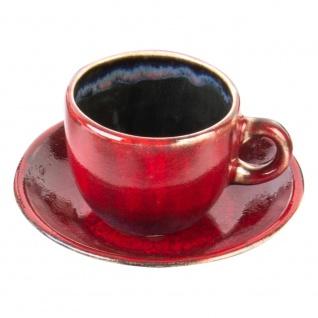Tasse mit Unterteller, handgemacht, CRUSTA, 120 ml - einzigartiges Muster