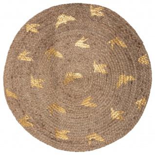 Jute-Teppich, rund, Ø 80 cm, goldenes Muster
