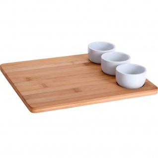 Servier-Set für Snacks, Bambustablett und 3 Schüsseln