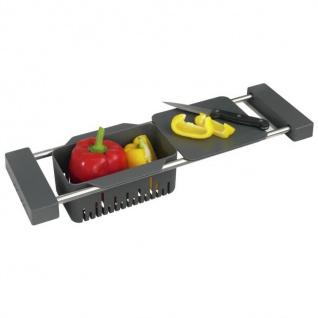 Abtropfablage für Gemüse CAMI mit Schneidebrett, ausziehbar, 2in1, WENKO