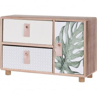 Mini Kommode aus Holz mit 2 Schubladen und 1 Tür (30x19x10 cm)
