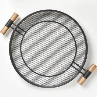 Metalltablett mit Griffen, Netzstruktur, Ø 48 cm, schwarz, ZELLER - ZELLER