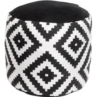 BLACK & WHITE Baumwolle Hocker, Sitz, Fußstütze - 45 x 30 cm, gepunktet
