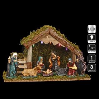 3 in 1 Weihnachtsdeko: 1 Krippe + 8 Krippenfiguren + 1 LED-Beleuchtung - Fééric Lights and Christmas