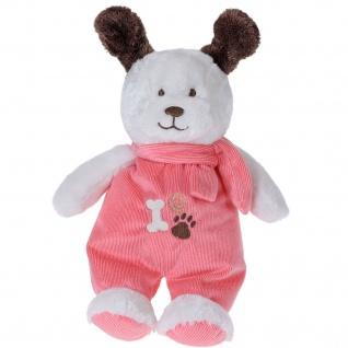 Kuscheltier Hund mit rosa Kleidung, 35 cm