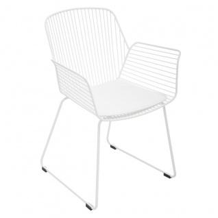 Sessel, Stahl, kabelgebunden, mit Kissen, Höhe 83 cm, Schwarz - Atmosphera