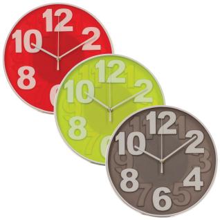 Eine Wanduhr im modernen Stil, eine Uhr mit Zahlen, Küchenuhr
