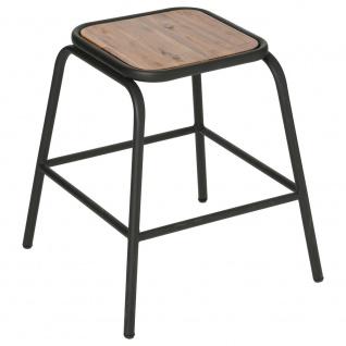 Hocker mit Holzsitz und Metallgestell, handliche Möbel im skandinavischen Stil - Atmosphera Créateur d'intérieur