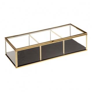 Schmuckkästchen, rechteckig, aus Glas und Velours, 25 x 10 cm, goldfarben - Atmosphera