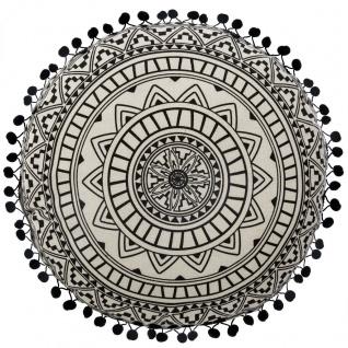 Deko-Kissen DELHI, rund, Ø 40 cm, schwarzes Mandala