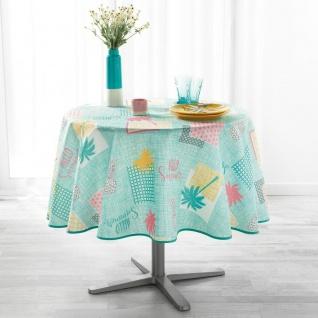 Runde Tischdecke PLAYA, Ø 180 cm, pfefferminzgrün mit Aufdruck