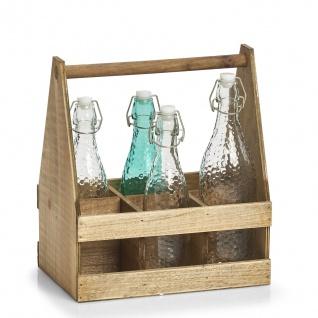 Flaschenständer mit Griff, 6 Sitze, Holz, ZELLER - ZELLER