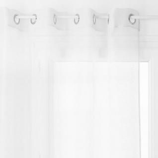 Polyester-Vorhang, weiß und schonend verdunkelt, einfach zu installieren dank Metallrad.