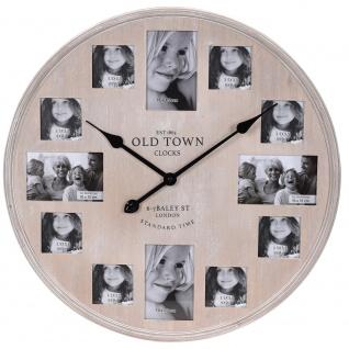 Wanduhr mit Rahmen für 12 Fotos, aus Holz, 60 cm
