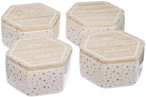 Dekorative Schachteln mit Deckel, Keramik, 4 Stück