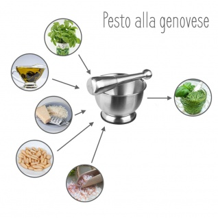 Secret de Gourmet, Küchenmörser mit Stößel, Edelstahl - Vorschau 5