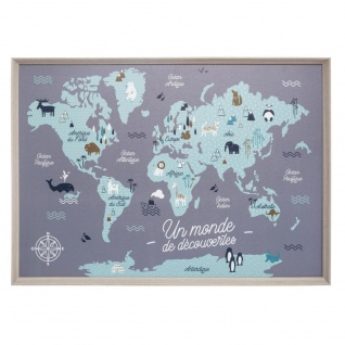 Weltkarte für Kinder, Wanddekoration, 70x50 cm - Atmosphera for kids