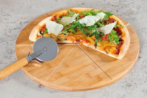 Pizzateller mit einem Messer, Pizzabrett, Pizzamesser, Küchenzubehör, Bambus